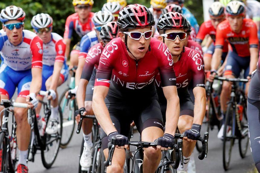 Team INEOS rider Geraint Thomas of Britain in the peloton.