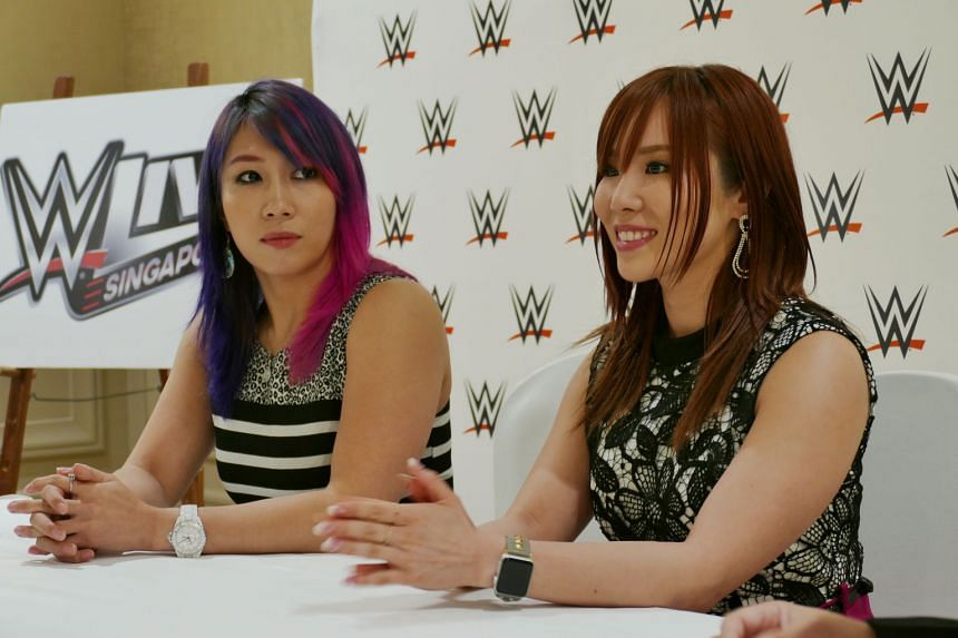 WWE superstars Asuka (left) and Kairi Sane, who were in Singapore recently for a WWE live event, will face the IIconics for the WWE Women's Tag Team titles in the future.