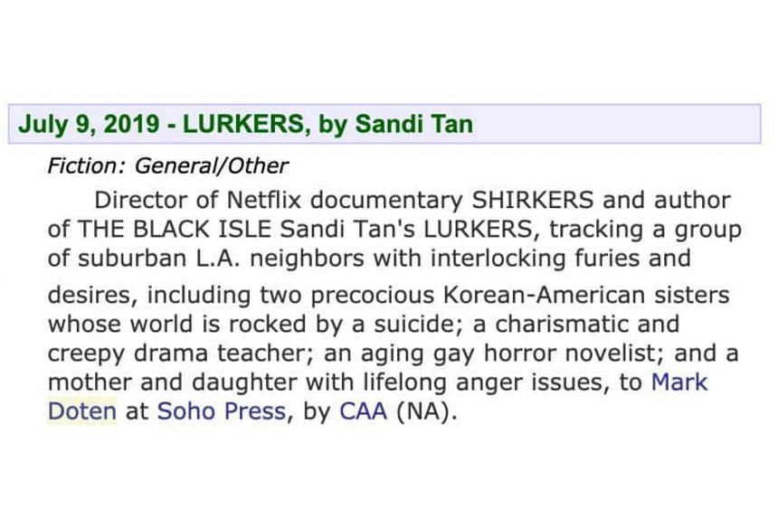 "Author Sandi Tan described Lurkers, which is expected to come out late next year (2020) or 2021, as ""darkly hilarious"" and ""somewhat about female anger management""."