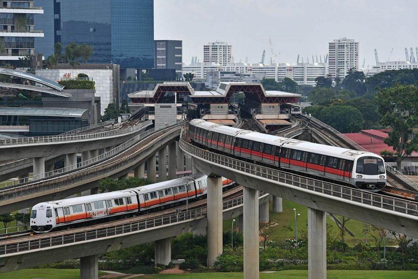 MRT trains at Jurong East Station on Feb 25, 2019.