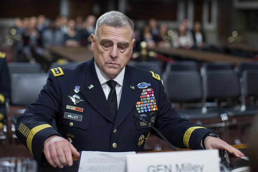 "General Mark Milley (above) said Washington was attempting to put together a coalition ""in terms of providing military escort, naval escort to commercial shipping."""