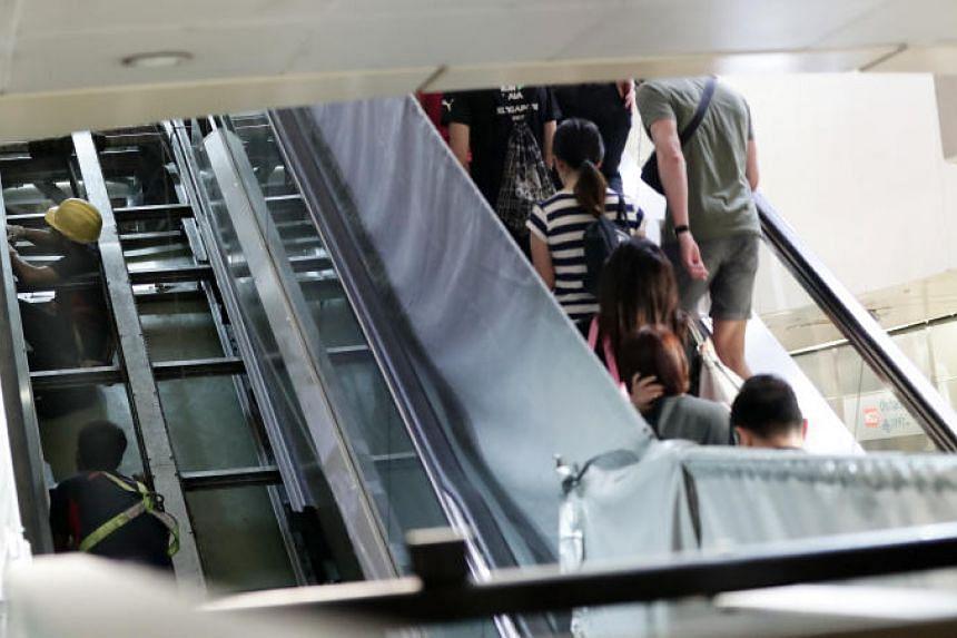 Escalator refurbishment project at Orchard MRT Station, on July 12, 2019.