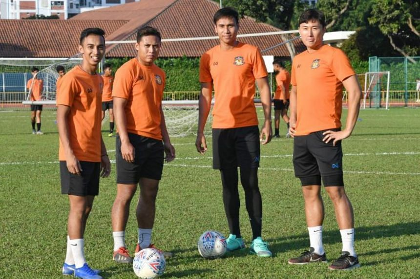 (From left) Hougang United FC players Faris Ramli, Khairulhin Khalid, Afiq Yunos and Kong Howon. Hougang are fourth on 23 points and scored 29 goals from 14 games.