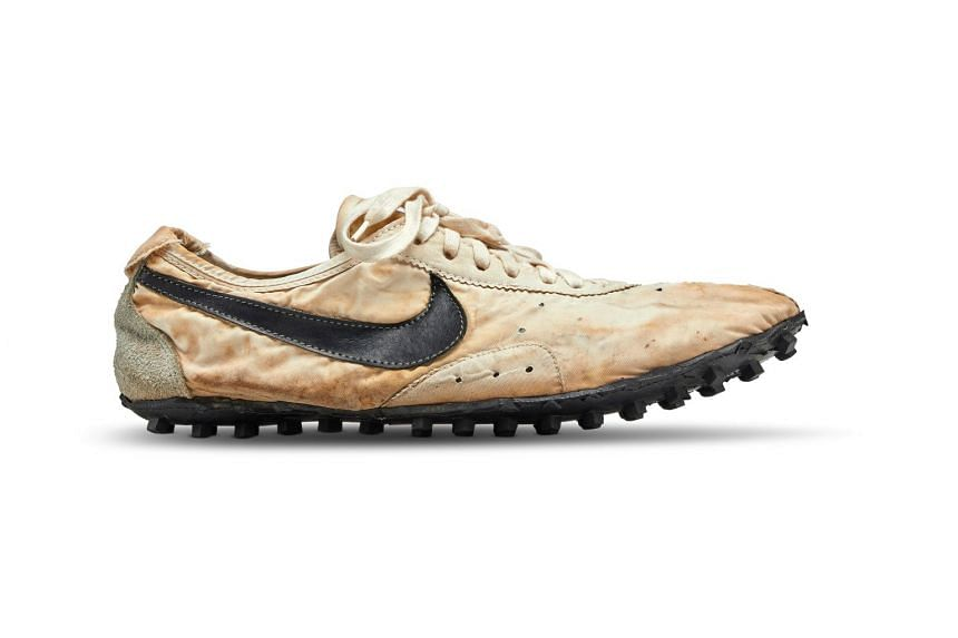 """The Nike """"Moon Shoe"""" is one of only 12 pairs created. It was designed by Nike co-founder and track coach Bill Bowerman for runners at the 1972 Olympics trials and the pair up for auction is handmade, Stadium Goods said."""