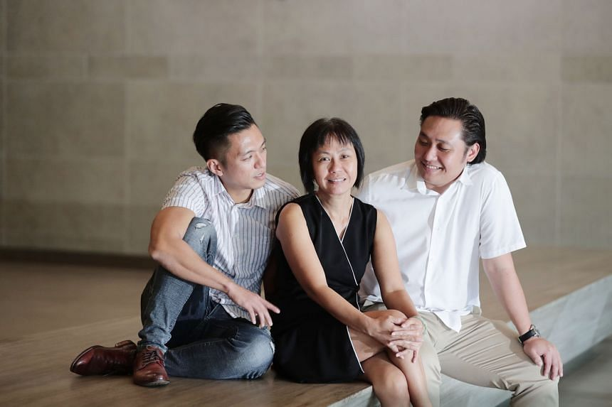 Madam Serene Neo, 54, had at first objected to her younger son Lin Dilun (right) donating his kidney back in 2012, but was assured after seeing him recover well after the operation. Hence, older son Lin Hanwei did not face any objection from her when