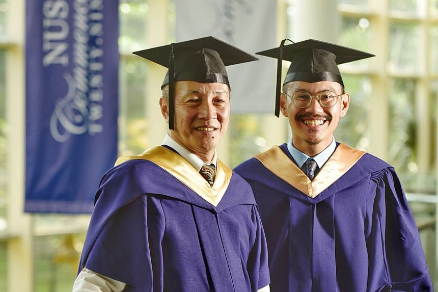 Mr Victor Lim (far left) and Mr Firdaus Hair at the University Cultural Centre in the National University of Singapore on Wednesday. Mr Lim received a Master of Science (Real Estate) yesterday, and Mr Firdaus will receive a Bachelor of Social Science