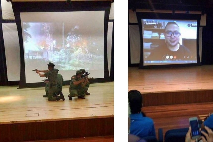 Left: People at an event marking the 10th anniversary of the Arakan Army at a community club in Singapore. Above: AA chief Tun Myat Naing addressing the audience via video link. PHOTOS: ARAKANBRAND/TWITTER Actors in military uniforms and holding repl