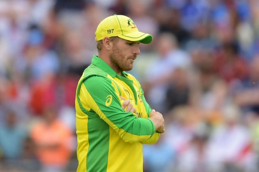 Australia's captain Aaron Finch looks on in the field during the match.