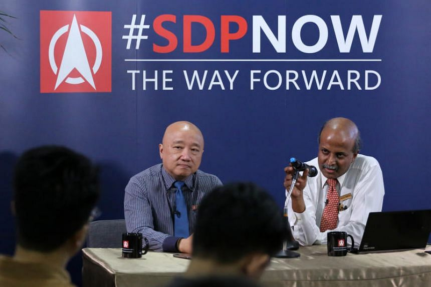 Benjamin Pwee (left) and Paul Tambyah briefed the audience at the SDP Launch of Educating for Creativity and Equality.