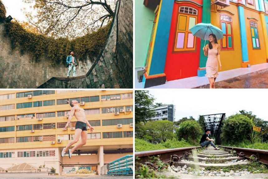 Instagram shots taken at Fort Canning, Tan Teng Niah, Bukit Timah Railway Bridge and People's Park Complex (left to right from top).