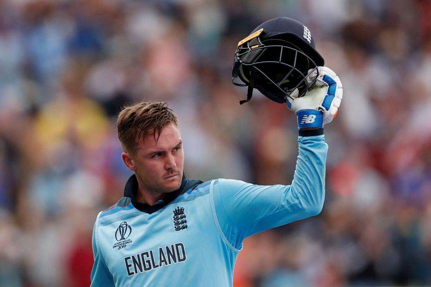 England's Jason Roy reacts after losing his wicket against Australia.