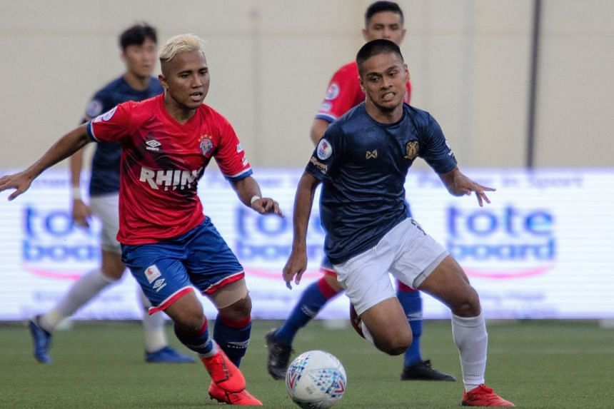 Warriors FC's Sahil Suhaimi chasing for the ball against Hougang United in the Singapore Premier League. He scored in the 2-1 upset win over Tampines Rovers on July 14, 2019 but are still in seventh spot.