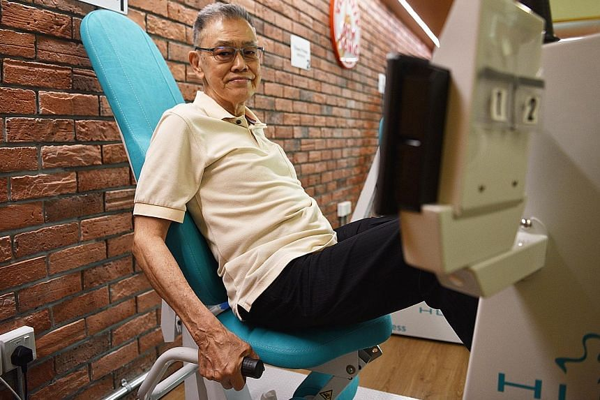 After three months of strength training at Gym Tonic, Mr Eric Wong, 77, can confidently climb overhead bridges.