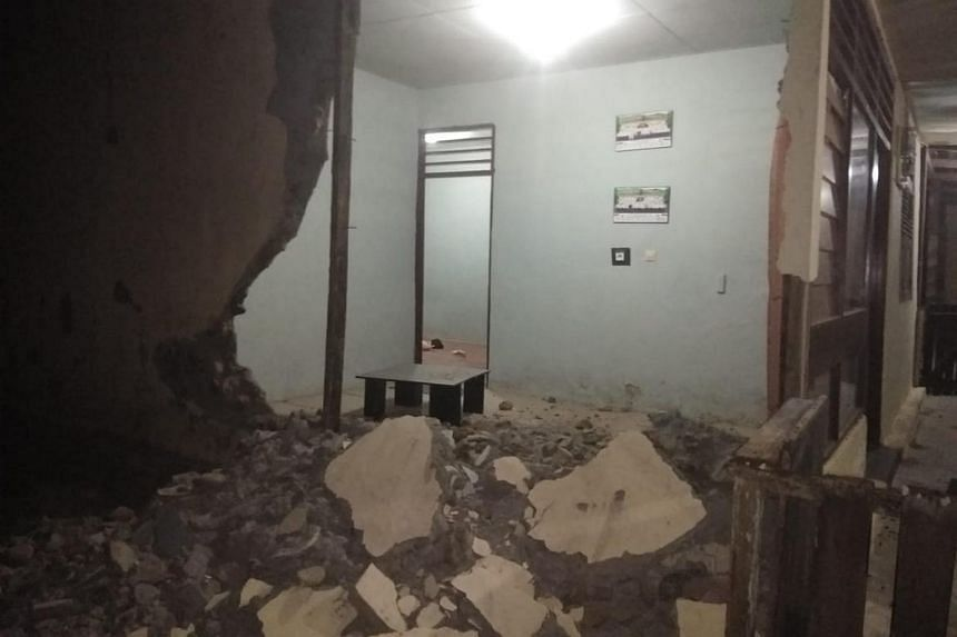 The damaged office of West Gane police precinct in Saketa, in Indonesia's North Maluku province, after an earthquake struck the area on July 14, 2019.