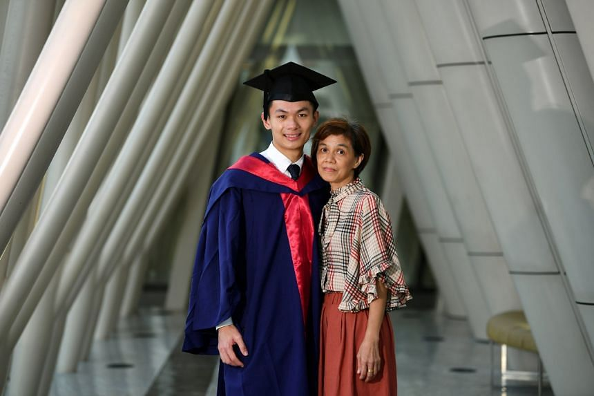 Valedictorian Arturo Neo with his mother Ng Mui Soo, after the commencement for the NUS Yong Loo Lin School of Medicine on July 14, 2019.