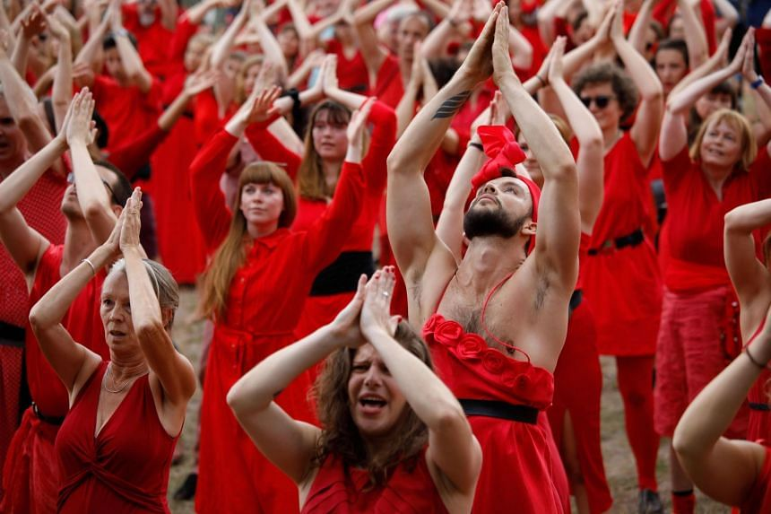 Kate Bush fans in Berlin perform to mark Wuthering Heights Day in Goerlitzer Park.