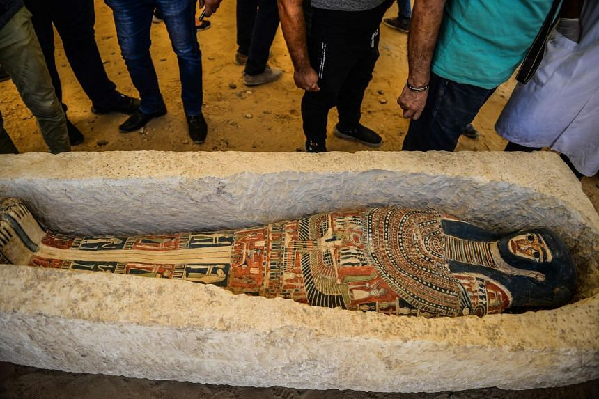 A sarcophagus, part of a new discovery at the Dahshur necropolis.