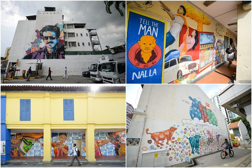 Murals painted by local and foreign artists include (clockwise, from top left) a portrait of Indian actor Rajinikanth by artist Zero, a mural at Siyamala Bookstore by Eunice Lim, 'Cattleland' by Eunice Lim and a series of Indian dancers by foreign ar