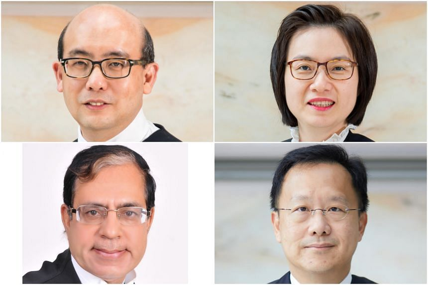 (Clockwise from top left) Judicial Commissioners Pang Khang Chau, Audrey Lim Yoon Cheng and Ang Cheng Hock have been appointed as Judges of the High Court, while Mr Arjan Kumar Sikri has been appointed an international judge to the Singapore Internat