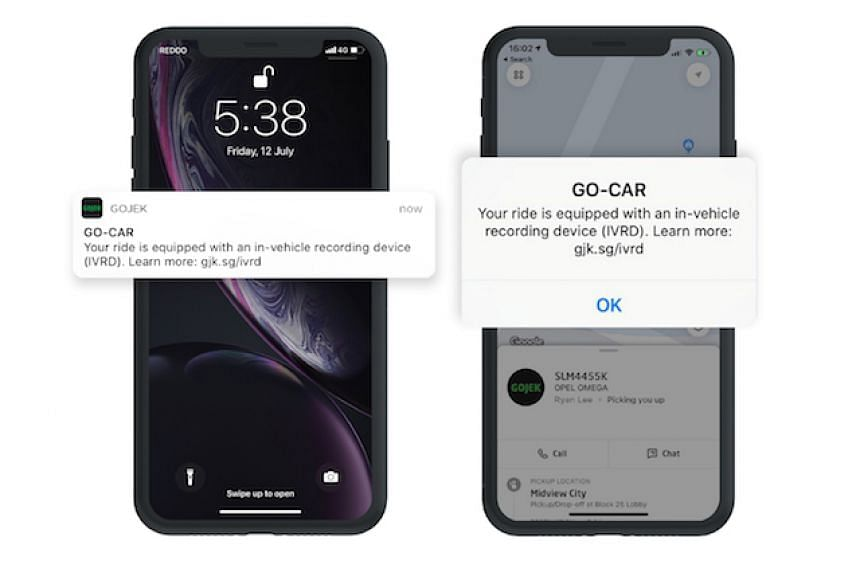 Gojek said customers will know if their booked vehicle has a camera once they are assigned a driver. If they do not wish to be recorded, they are advised to cancel the ride.