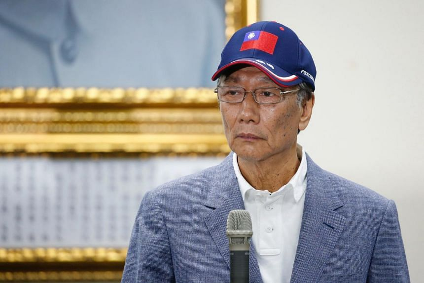 Terry Gou, founder and chairman of Foxconn, looks on during an announcement of seeking the nomination of Taiwan's opposition Kuomintang party to run for the island's presidency, in Taipei.