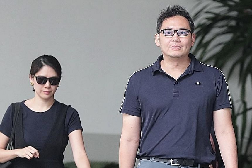 Kelvin Liu Chin Chan (left) leaving the court yesterday with Madam Lin, who The Straits Times understands is now his wife. Liu was found guilty of one charge under the Protection from Harassment Act brought by his then alleged lover's husband, civil