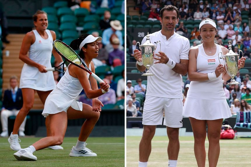 Left: Taiwanese Hsieh Su-wei and Czech partner Barbora Strycova during the women's doubles final on Sunday. Above: Ivan Dodig of Croatia and Chinese Taipei's Latisha Chan pose with their mixed doubles trophies. It was the pair's second Grand Slam tit