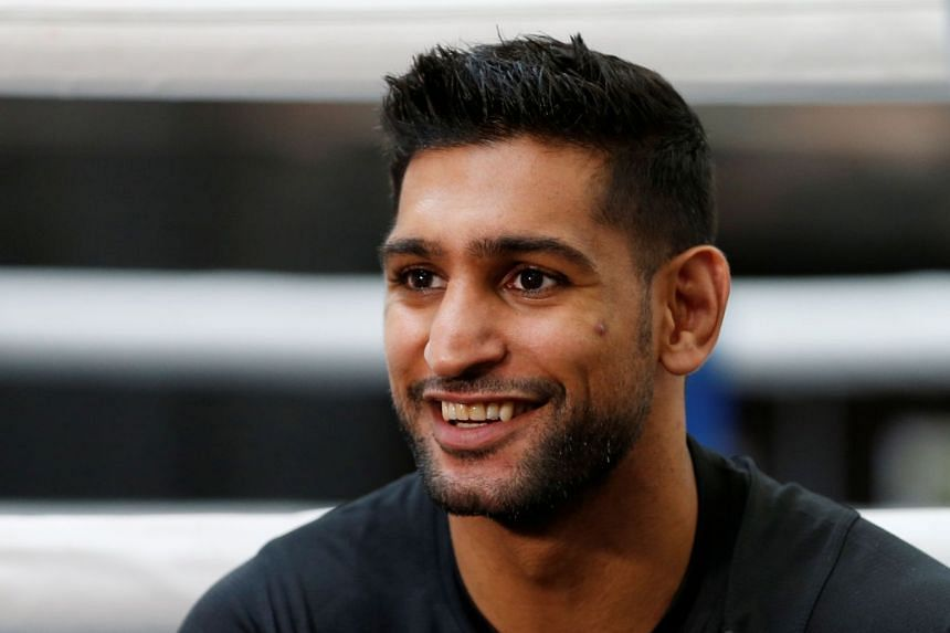 Amir Khan during the press conference.