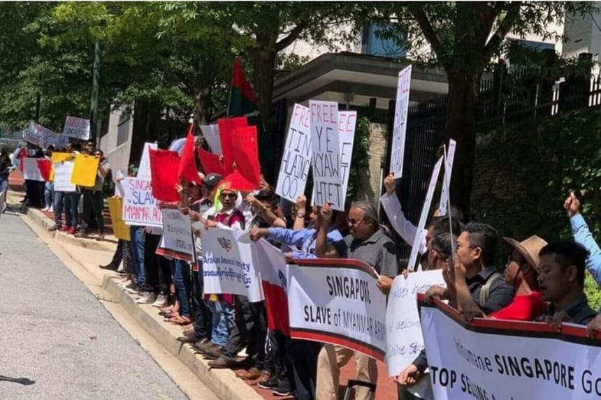 Monday's protest at the Singapore embassy in Washington was attended by at least two dozen protesters.