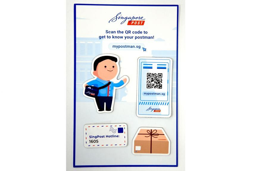 SingPost will mail out fridge magnets to every household and business unit here. The set of four magnets includes one with a QR code that allows access to the new website.