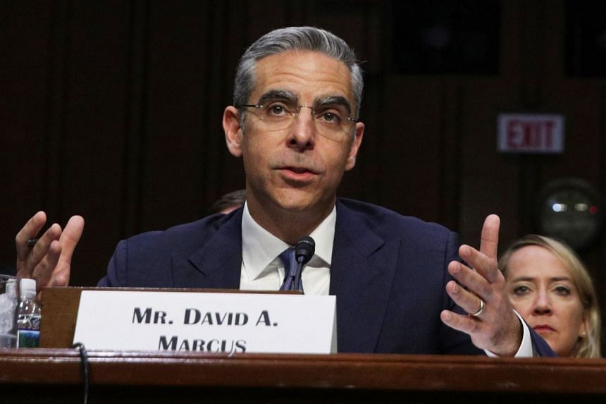Head of Facebook's Calibra, David Marcus, testifies during the Senate hearing.