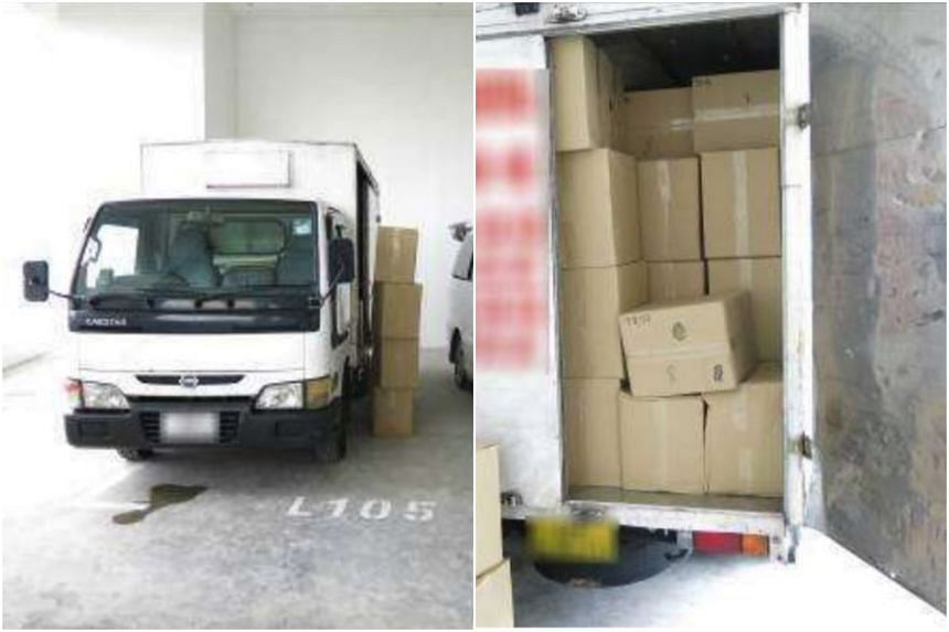 Singapore Customs officers seized 3,948 cartons of duty-unpaid cigarettes, a truck and two cars during the operation.