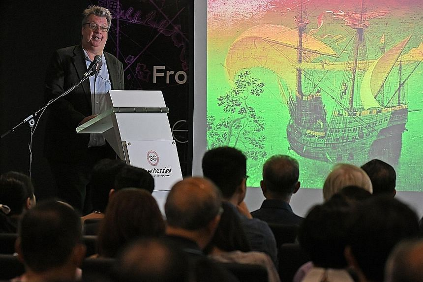 Associate Professor Peter Borschberg giving a talk about the waters of 1500s Singapore and its surrounds, at Fort Canning Centre last Thursday. Prof Borschberg says the curtain never fell on 16th century Singapore, and that sources portray it as an i