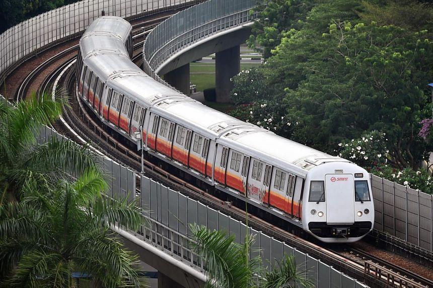 An SMRT train near Admiralty Station.