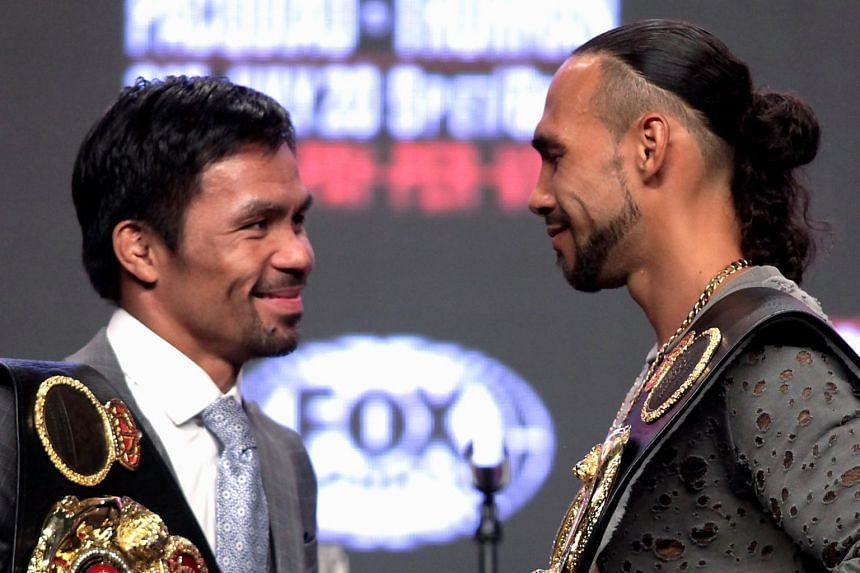 Philippine boxer Manny Pacquiao (left) and US boxer Keith Thurman at the final press conference at the MGM Grand Hotel & Casino on July 17, 2019.