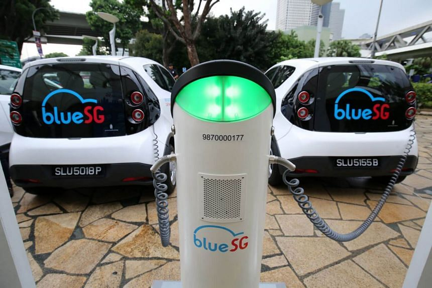 BlueSG cars at a charging point at the Singapore Flyer.