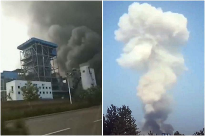 The explosion occurred around 5.45pm at the Yima gas factory in Yima, Henan province, on July 19, 2019.