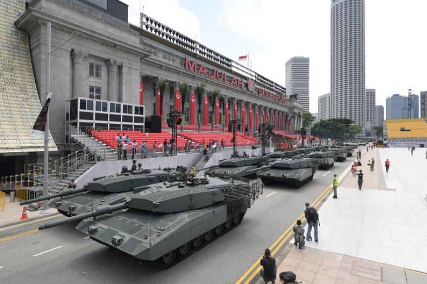 SAF tanks, forming the NDP 2019 mobile column, taking part in a media preview on June 29, 2019.