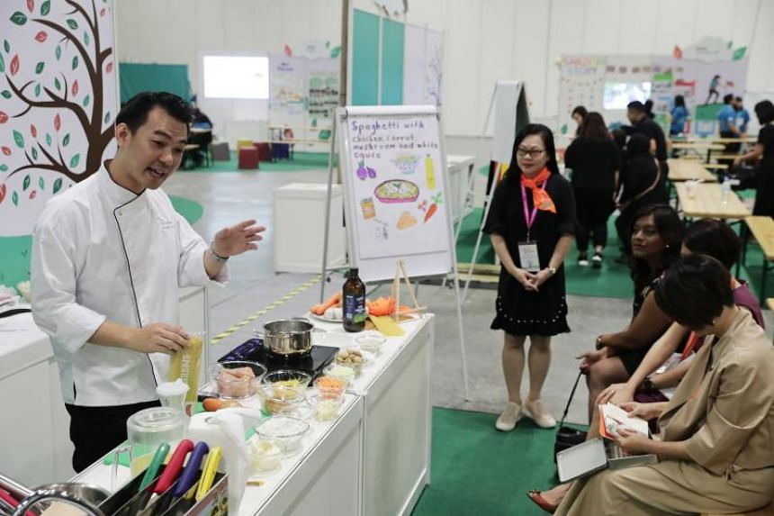 Mr Bernard Lim, 34, head chef at NTUC First Campus' My First Skool in Punggol Drive, at a cooking demo at the Learning and Sharing Festival 2019 on July 19, 2019.