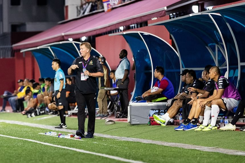 Brunei DPMM coach Adrian Pennock in action in May 2019.