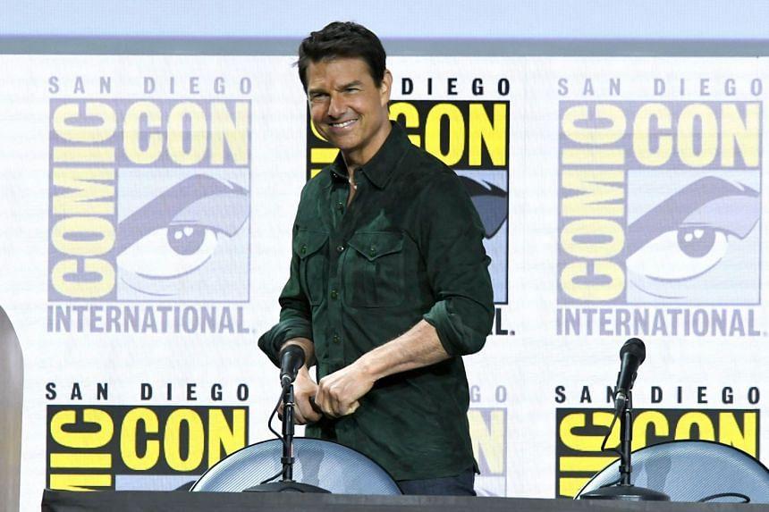 Tom Cruise speaks at the Top Gun: Maverick Comic-Con panel.