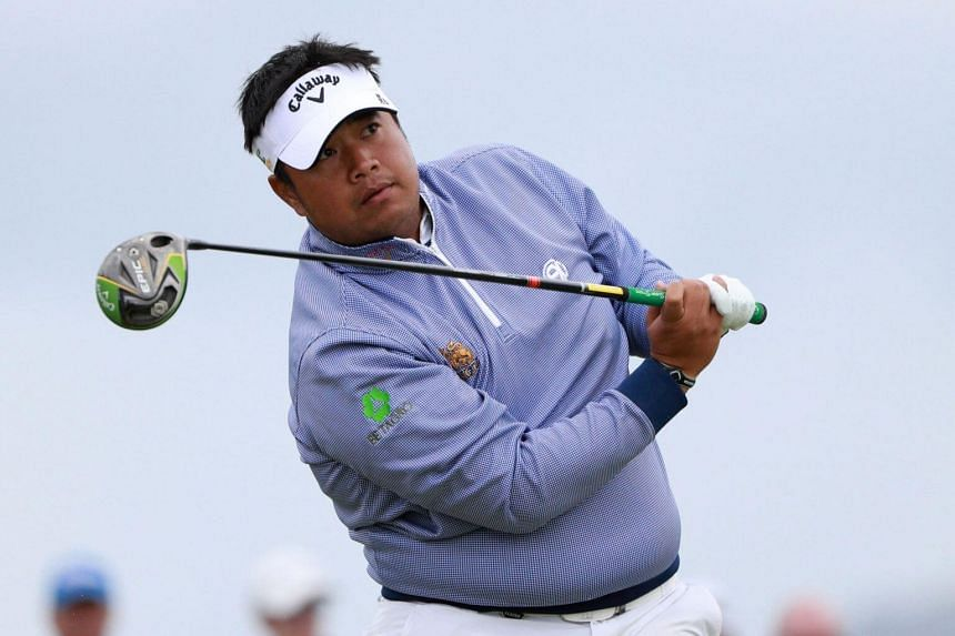 World No. 52 Kiradech Aphibarnrat made a costly double-bogey at the par-five seventh, having fired a 68 in the first round, and is one-under for the tournament.