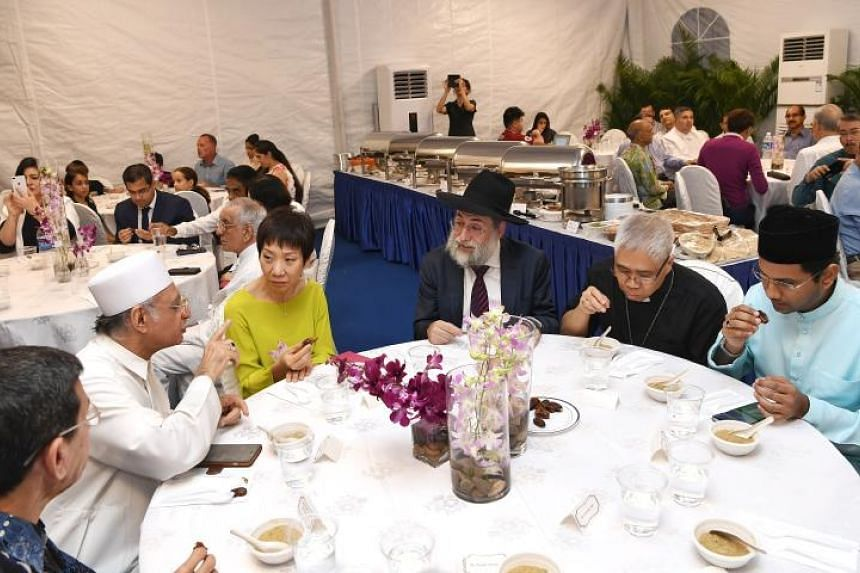 (From left) Muis president Mohammad Alami Musa, Imam Habib Hassan Al-Attas, Minister for Culture, Community and Youth Grace Fu, Chief Rabbi of Singapore Mordechai Abergel, Archbishop William Goh Seng Chye and Nominated MP Abbas Ali Mohamed Irshad dur