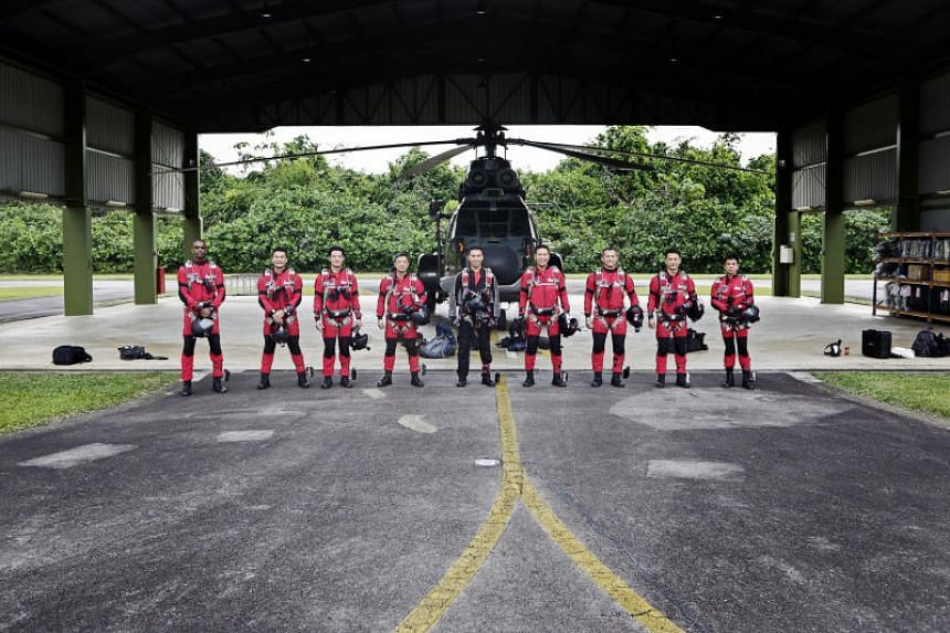 The team of nine Red Lions, led by First Warrant Officer Melvin Ho, will freefall out of the helicopter one by one, and come together in mid-air to form a ring by linking their arms together.
