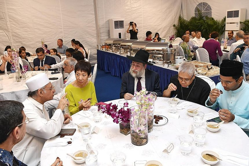 The Maghain Aboth Synagogue hosting iftar last month. Present at the session were (from left) Muis president Mohammad Alami Musa, Imam Habib Hassan Al-Attas, Minister for Culture, Community and Youth Grace Fu, Chief Rabbi of Singapore Mordechai Aberg