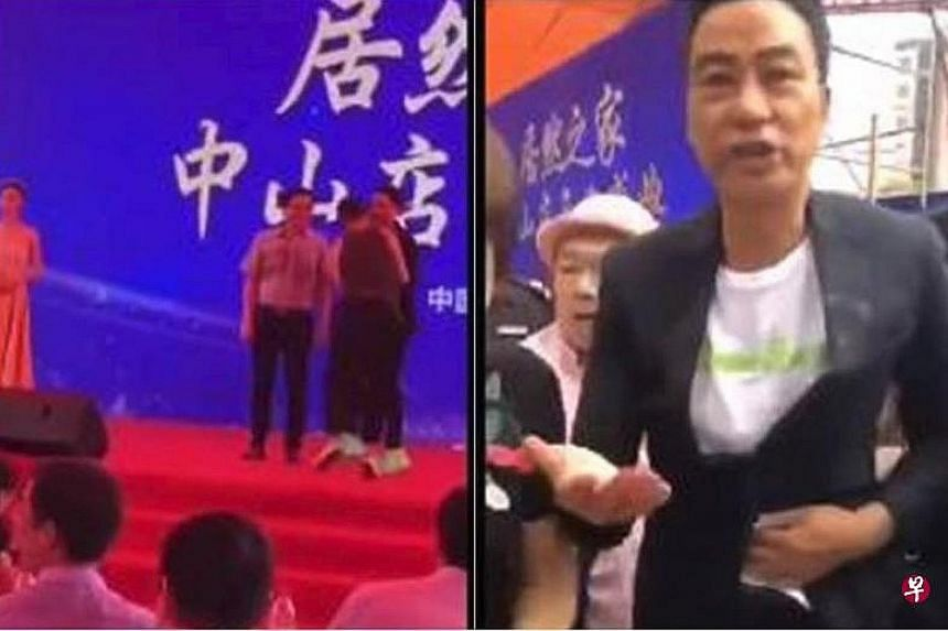 From far left: A man charges up the stage, goes towards Simon Yam and lashes out at him repeatedly. Yam is seen in a second video clip with bloodied hands, asking to be taken to hospital. PHOTOS: INTERNET