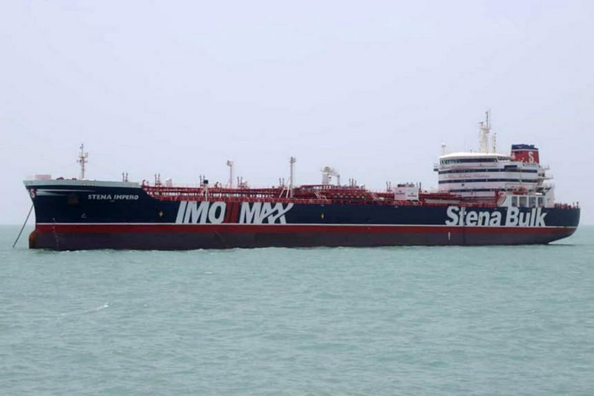 The British-flagged tanker Stena Impero anchored in Bandar Abbas in southern Iran on July 20, 2019.