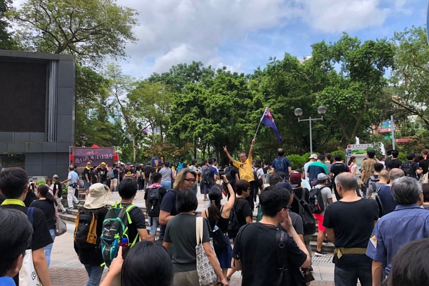 Protesters gathering at Victoria Park to join an anti-extradition Bill rally, on July 21, 2019.