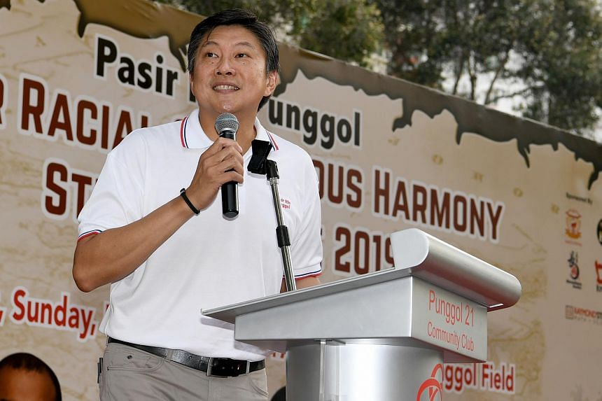 Labour chief Ng Chee Meng speaking at an inter-racial and religious harmony event in Punggol on July 21, 2019.