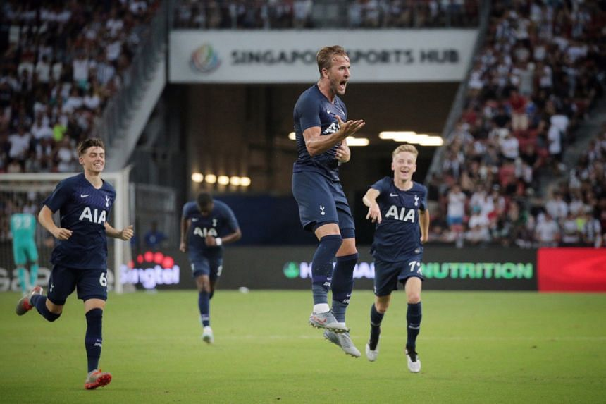 Tottenham Hotspur forward Harry Kane celebrating after scoring his team's third goal during their International Champions Cup match against Juventus on July 21, 2019.